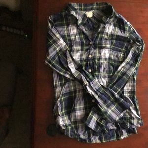 JCrew The Perfect Shirt Plaid Button Down Navy L